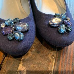 Blue Gemstone Ballerina Flats